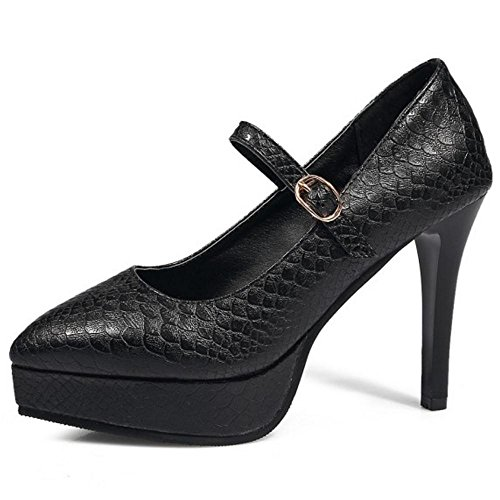 Coolcept Mujer Mary Jane Bombas Zapatos Black