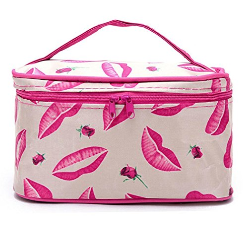 ICCUN mirror traveling handle floral men designer double plastic Cosmetic Bags