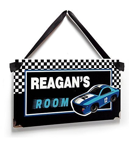 Personalized Themed Nursery Plaque Black and White Checkerboard Racing - Checkerboard Cars