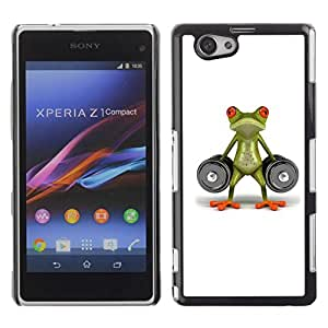 Be Good Phone Accessory // Dura Cáscara cubierta Protectora Caso Carcasa Funda de Protección para Sony Xperia Z1 Compact D5503 // Lifting Gym Frog Strong Body Building