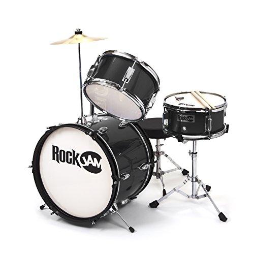 RockJam 3-Piece Junior Drum Set with Crash Cymbal, Drumsticks, Adjustable Throne and Accessories, Black, inch (RJ103-BK)