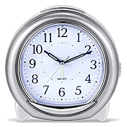 BonyTek Super Silent Desk Alarm Clock, Quartz Alarm Clock with Loud Mechanical Bell Birdsong Melody Alarm, Nightlight, Snooze, Silent Sweep Seconds, Luminous Hands, Battery Powered (Sliver)