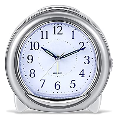 """BonyTek Desk Alarm Clock, Silent Quartz Alarm Clock with Loud Mechanical Bell Bird Song Melody Alarm, Nightlight, Snooze, Silent Sweep Seconds, Luminous Hands, Battery Powered (Sliver) - 1】.Silent -- Silent sweep seconds movement, quiet concise design alarm clock without annoying tick tock sound. 2】. 3 Types of Alarm Sounds -- 【Birdcall / 8 Pieces of Music / Mechanical Bell】Three types of alarm sounds played alternately. After starting the alarm, the first is the 3 times sweet birdsong, then melody and mechanical bell cycling played. 3】. Snooze -- The snooze allows the alarm to ring every five minutes, It will stop ringing until switched off or half an hour later. when you shut off the alarm, it says """"good morning!"""". Built-in real mechanical bells, Loud sound for heavy sleepers, You will never sleep through our Alarm Clock! - clocks, bedroom-decor, bedroom - 51hdUu zGTL. SS400  -"""
