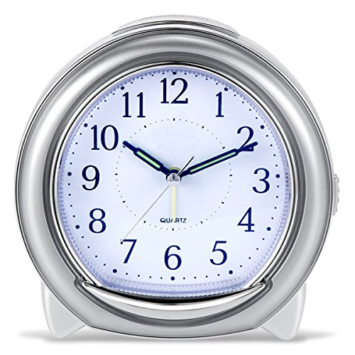 Super Silent Desk Alarm Clock, BonyTek Quartz Alarm Clock with Loud Mechanical Bell Birdsong Melody Alarm, Nightlight, Snooze, Silent Sweep Seconds, Luminous Hands, Battery Powered (Silver)