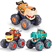 HIEMAO Monster Toy Cars for 1 2 3 4 Year Old Boys, 3 Pack Friction Powered Push & Pull and Go Animal Truck