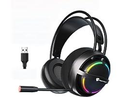 Fone de ouvido para jogos com fio YOOXI, 7.1 Som ambiente, conector USB, cores RGB, compatível com PS4, Xbox One/360, PS3, N-