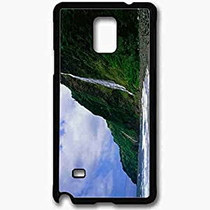 Unique Design Fashion Protective Back Cover For Samsung Galaxy Note 4 Case Beach Waterfall Pictures Nature Black