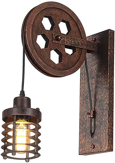 Amazon Com Kiven Nautical Lights Industrial Pulley Wall Sconce Steampunk Wall Light Rustic Lighting Home Improvement