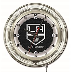 Los Angeles Kings HBS Neon White Hockey Battery Powered Wall Clock (19)