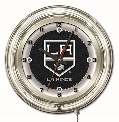 Holland Bar Stool Co. Los Angeles Kings HBS Neon White Hockey Battery Powered Wall Clock ()