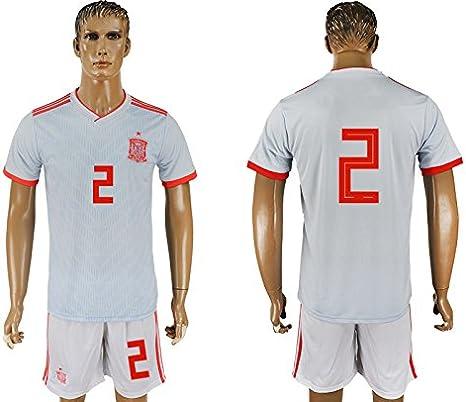 Sonucoci Juego de camiseta de fútbol para hombre, diseño de equipo de España 2 Home/Away 2018, casual, Large, Blanco: Amazon.es: Deportes y aire libre