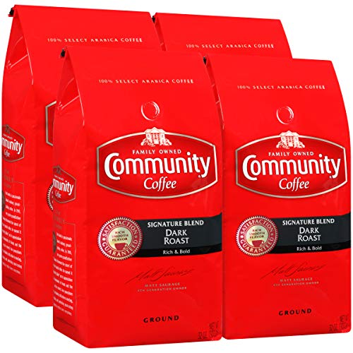 Community Coffee Signature Blend Dark Roast Premium Ground 32 Oz Bag (4 Pack), Full Body Rich Bold Taste, 100% Select Arabica Coffee Beans