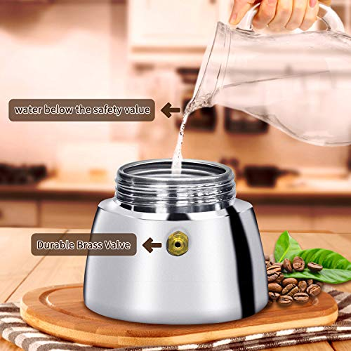 Amazon.com: Cafetera de espresso de acero inoxidable AMFOCUS ...