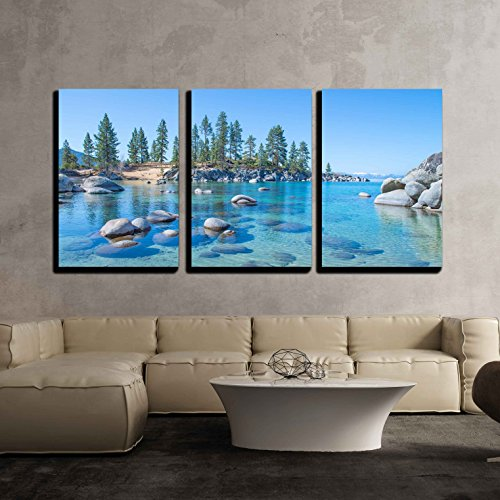Beautiful Blue Clear Water on the Shore of the Lake Tahoe x3 Panels