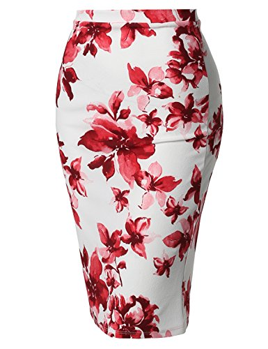 Fitted Stretch Printed High Waist Midi Pencil Skirt Floral Off White Size 2XL