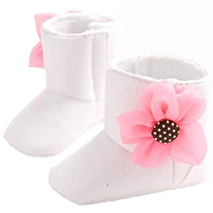AMA(TM) Toddler Baby Girls Winter Flower Snow Boots Soft Sole Crib Shoes (0~6 Month, White)
