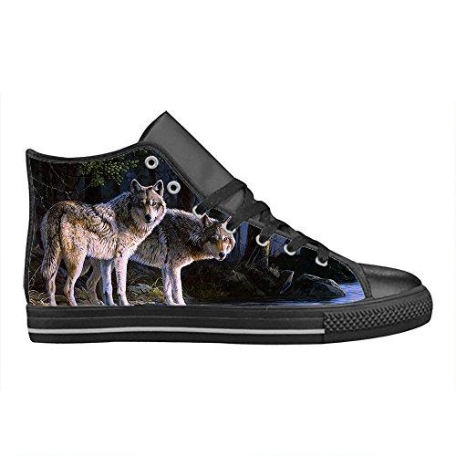 CHEESE Importato Aquila High Top Action Scarpe da Uomo in Pelle Comoda Tela Sneaker Custom Design Lupo Freddo