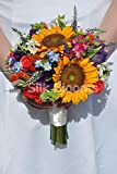Rustic Yellow Sunflower and Country Flower Bridal Wedding Bouquet w/ Forget Me Not's