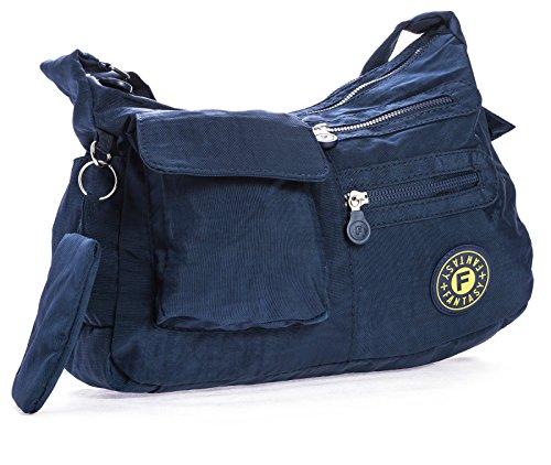 Shop Big Handbag Lightweight Rainproof Body Messenger Navy Medium Cross Size Multipocket Bag Unisex Fabric 515wHr