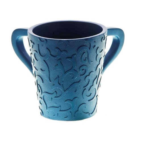 Blue Polyresin Washing Cup with Scrollwork Lines image