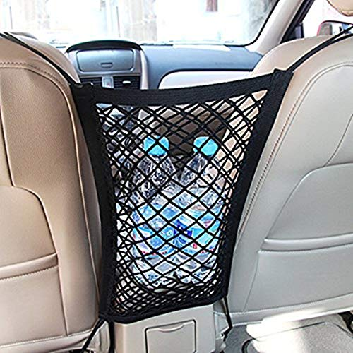Mxinran Universal Car Seat Storage Mesh/Organizer,Double layer Armrest Cargo Mesh Storage Pocket Holder for Phone/ Purse Bag/ Baby Kits, As a Barrier for Kids/ Dog (Cargo Bag Purse)
