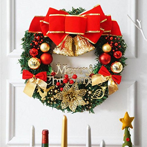 Creazrise 30cm Christmas Large Wreath Door Wall Ornament Garland Decoration Red Bowknot