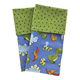 Funkins Cloth Placemats for Kids | School Lunches | Reusable, Eco-Friendly | Machine Washable for Easy Care | 2-Ply, Durable | Set of 2, 15''x13'' Cloth Placemats | Dinosaurs