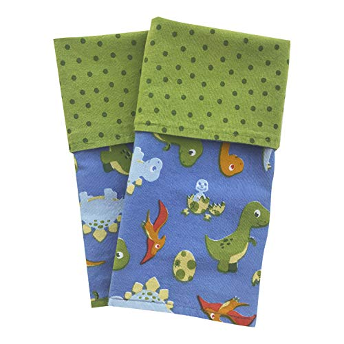 Funkins Cloth Placemats for Kids | School Lunches | Reusable, Eco-Friendly | Machine Washable for Easy Care | 2-Ply, Durable | Set of 2, 15''x13'' Cloth Placemats | Dinosaurs by Funkins