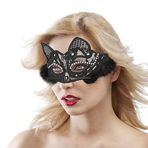 HOT Women Venetian Mask - Sexy Masquerade Fancy Cat Lace Eye Mask Party Princess Face Masks for Halloween Carnival Make Up(Black)