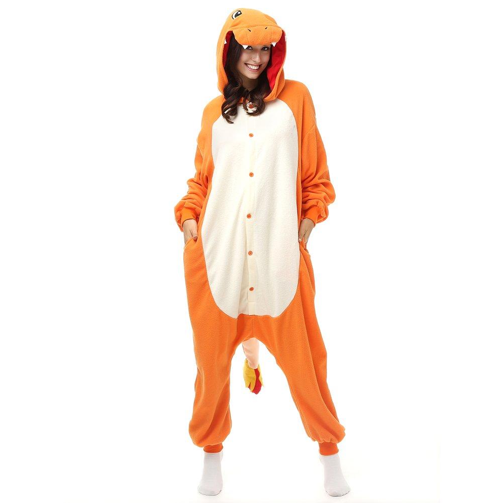 e38639496 Amazon.com: Adult Charmander Onesie Fleece Cartoon Sleepwear Cosplay  Costume Unisex: Clothing