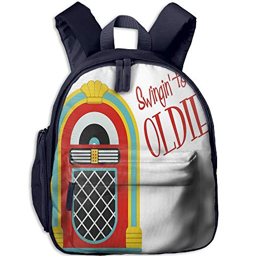 (Haixia Kid Boy's&Girl's School Backpack with Pocket Jukebox Jazz Age Vintage Party Theme Music Raido Box with Quote Art Print Full Red Sky Blue and Yellow)