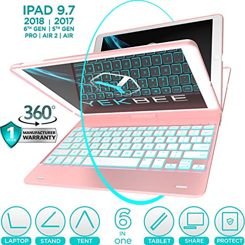 New iPad Keyboard Case for iPad 2018 (6th Gen) - iPad 2017 (5th Gen) - iPad Pro 9.7 - iPad Air 2 & 1...