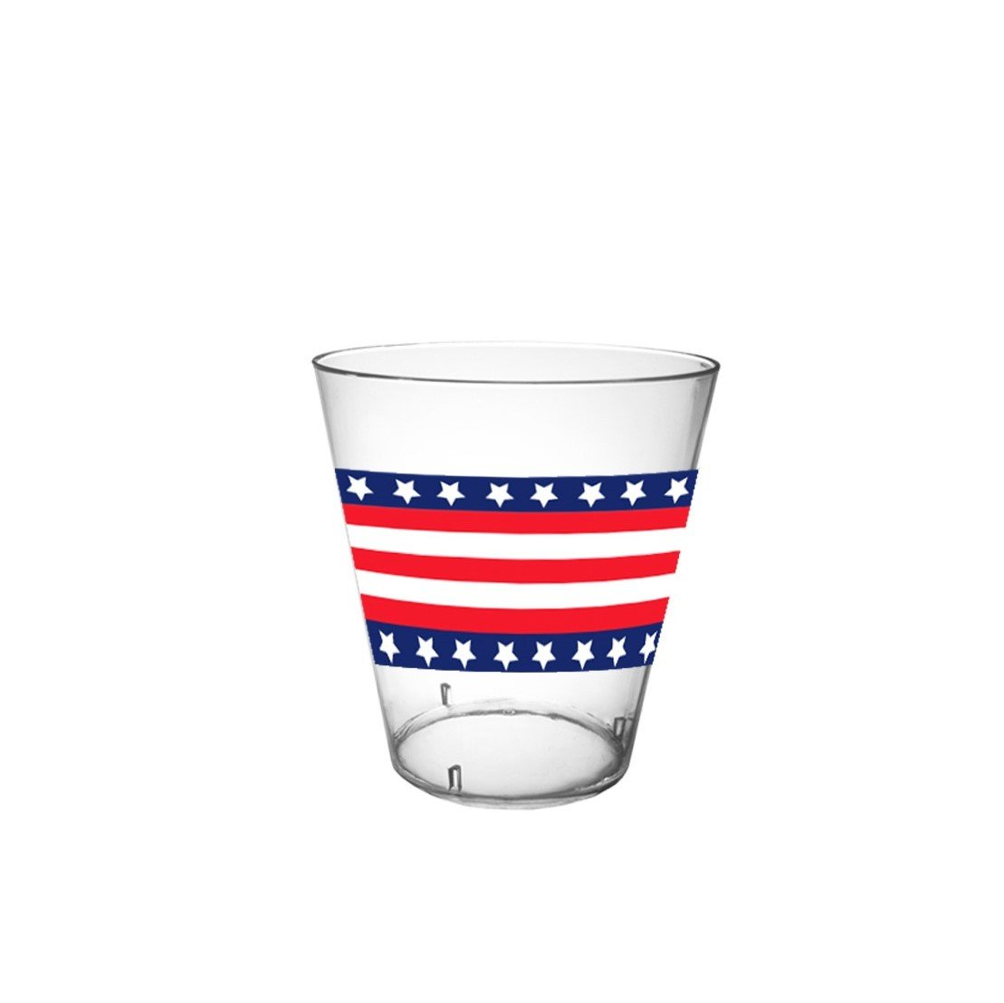 40-Count Printed Hard Plastic 2-Ounce Shot Glasses, Stars and Stripes by Party Essentials