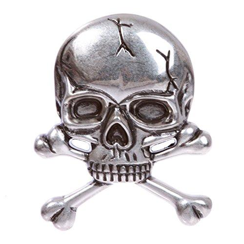 (MONIQUE Men Halloween Costume Skull Shape Cross Bone Pirate 1.5'' Belt)