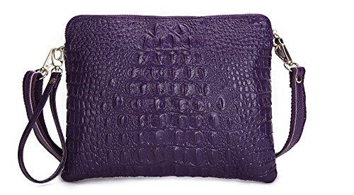 Crocodile Clutch Messenger Bags Handbags Women Genuine Leather Solid Shoulder (Purple Color)