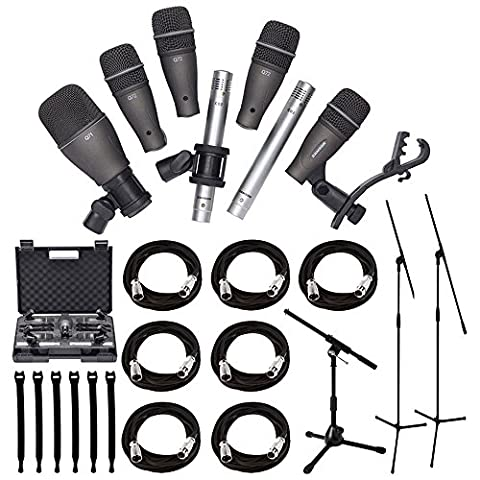 Samson DK707 7-Piece Drum Microphone Kit + Tripod Base Mic Boom Stand + Ultimate Low-Level Tripod Mic Stand + 7 XLR Mic Cables 20 ft.+ Strapeez, Black - Ultimate Accessory - Drum Kit Microphone System