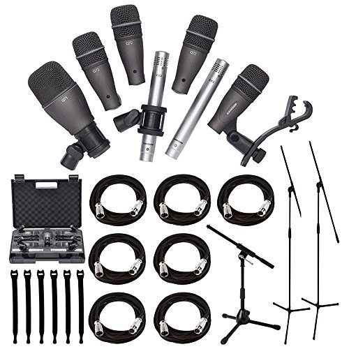 (Samson DK707 7-Piece Drum Microphone Kit + Tripod Base Mic Boom Stand + Ultimate Low-Level Tripod Mic Stand + 7 XLR Mic Cables 20 ft.+ Strapeez, Black - Ultimate Accessory Bundle)