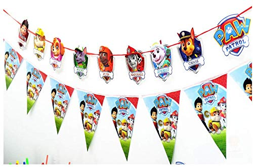 Astra Gourmet PAW Patrol Party Banners Birthday Party Garland Flag Banner for Paw Patrol Themed Party Decorations, Set of 2 -