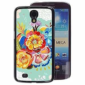 A-type Arte & diseño plástico duro Fundas Cover Cubre Hard Case Cover para Samsung Galaxy Mega 6.3 (Flower Green Crocheted Teal Watercolor)