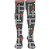 DFAUHAL Crossword Puzzle Knee High Graduated Compression Socks for Unisex - Best Medical, Nursing, Travel & Flight Socks - Running & Fitness