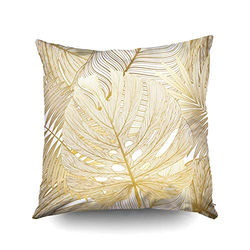 KIOAO Pillowcase Standard 16X16Inches Square for Cushion Home Decorative Floral Pattern Pastel Colors Gold Stylized Sketch Jasmine Magnolia Flowers Pillow Covers Printed with Both Sides of Cotton