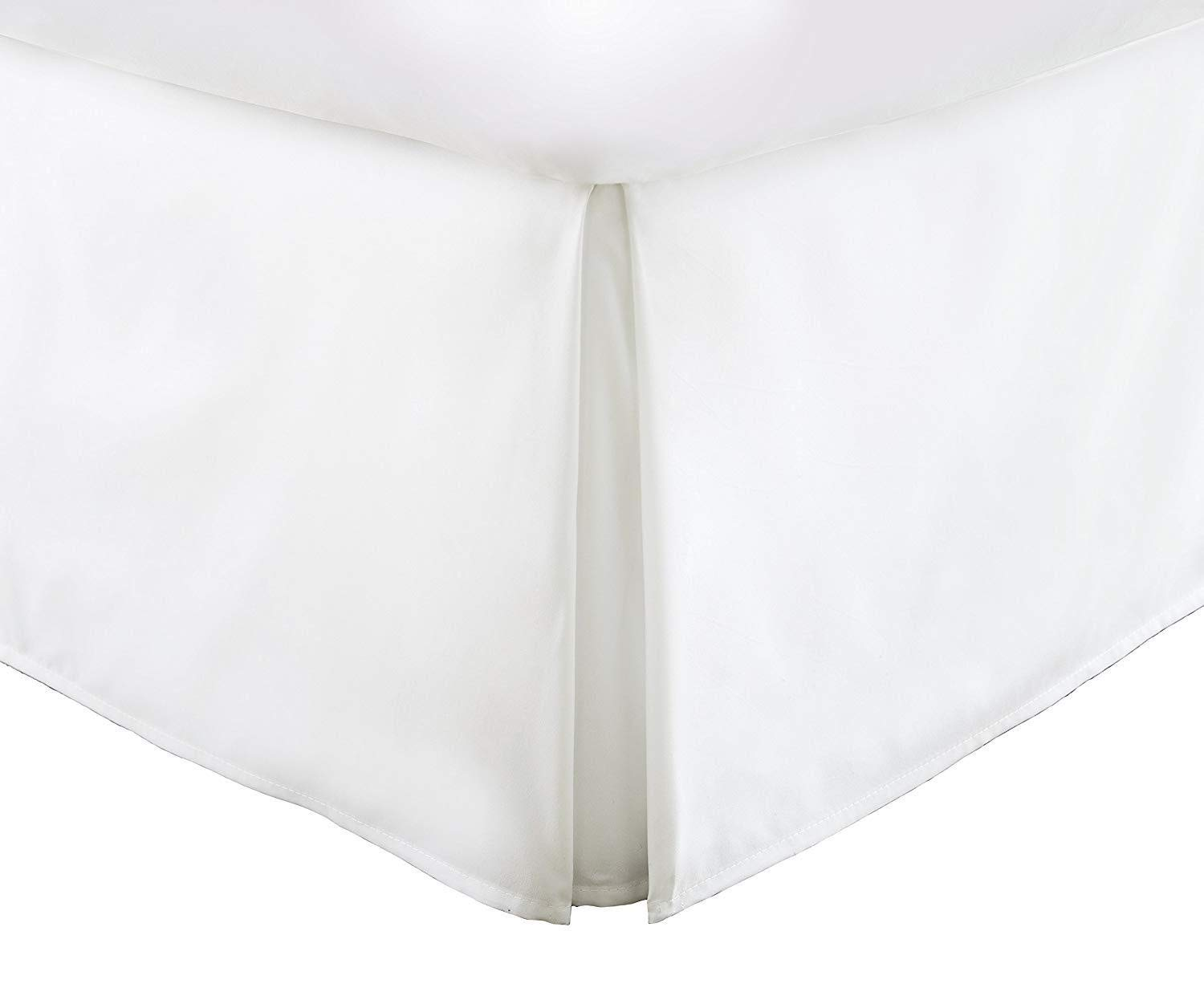 White Double Brushed Microfiber Pleated Dust Ruffle Twin Vera Nice Bed Skirt with 15-inch Drop