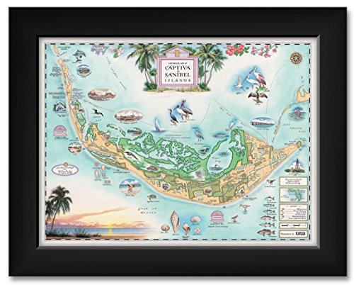 Captiva Sanibel Framed Art Print by Xplorer Maps. Print Size 9 x 12 Framed Art Size 11 x 14