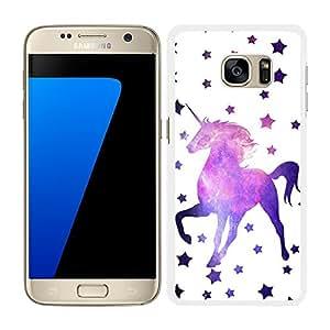 funda carcasa para Samsung Galaxy S7 estampado estrellas con unicornio fondo nebulosa borde blanco