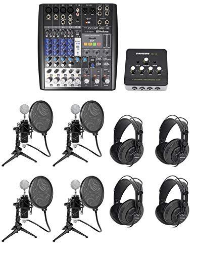 Presonus AR8 Podcast Studio Bundle w/Mics+Cables+Samson Headphones+Desk Stands ()