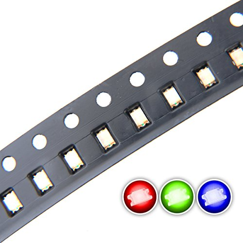 Chanzon 100 pcs 0805 SMD RGB Multicolor LED Diode Lights Chips (Red Green Blue Tricolor 2.0mm x 1.2mm Common Anode 4 pin DC 20mA/Color) Lighting Bulb Lamps Electronics Components Light Emitting Diodes