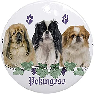 Voicpobo-Pekingese-Cant-Have-Just-One-Christmas-Ornaments-Round-Novelty-Ceramic-Christmas-Tree-Decoration-Ornament-Gifts-for-Friendsfor-Family