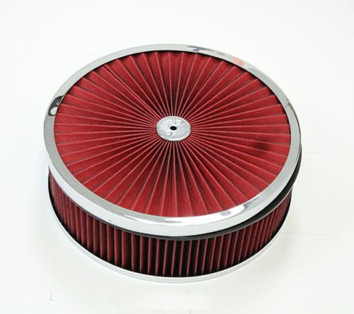 "14""x 3"" Chrome Breather Washable Air Filter Cleaner Reusable Oiled Ford SBC BBC"