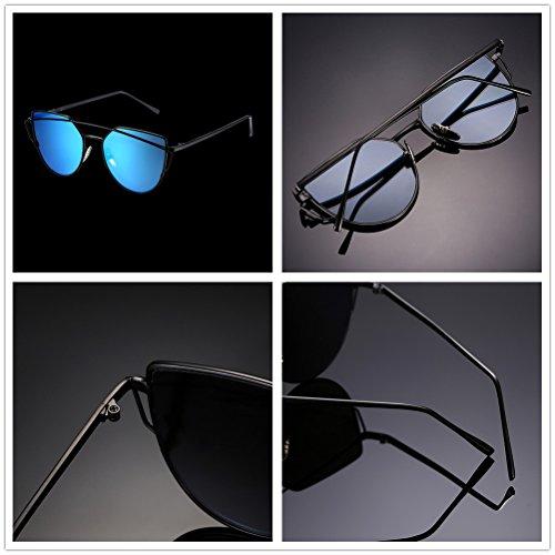 Twin Verres Lunettes œil de Designer lens and soleil classique Nykkola chat UV400 Lunettes de black beams Couleur miroir frame blue qfndA8