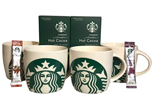 Starbucks Share The Cheer 4 14 Ounce Mugs, 2 Starbucks Via Packets, And 2 Classic Cocoa Packet Bundle